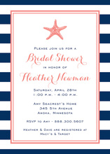 Navy Stripes Starfish Coral Invitations