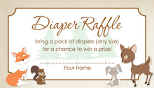 Woodland Animals Diaper Raffle Cards