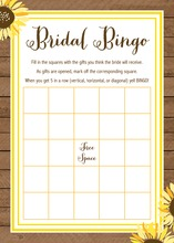 Sunflower Wood Bridal Shower Bingo Game