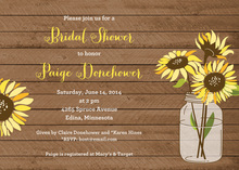 Sunflower Wood Bridal Shower Invitations