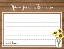 Sunflower Wood Bridal Advice Cards
