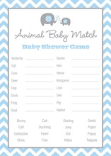 Blue Chevron Elephant Baby Animal Name Game