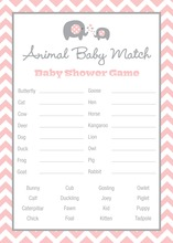 Pink Chevron Elephant Baby Animal Name Game