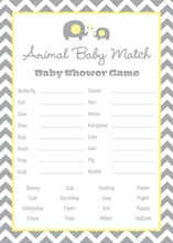Yellow Chevron Elephant Baby Animal Name Game