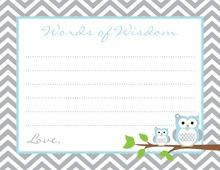 Blue Grey Chevron Owls Advice Cards