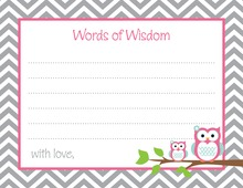 Deep Pink Adorable Hoot Advice Cards