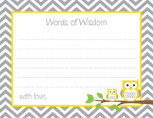 Yellow Grey Chevron Owls Advice Cards