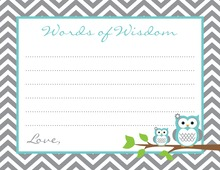Turquoise Grey Chevron Owls Advice Cards