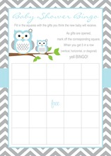 Powder Blue Adorable Hoot Baby Bingo Cards