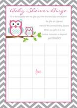 Deep Pink Adorable Hoot Baby Bingo Game Cards