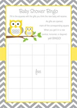 Deep Yellow Adorable Hoot Bingo Game Cards