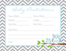 Powder Blue Adorable Hoot Baby Prediction Cards