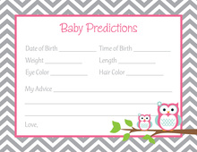Deep Pink Adorable Hoot Baby Prediction Cards
