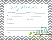 Turquoise Adorable Hoot Baby Prediction Cards