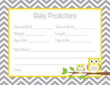 Deep Yellow Adorable Hoot Baby Prediction Cards
