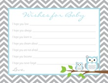 Powder Blue Adorable Hoot Baby Wish Cards