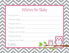 Deep Pink Adorable Hoot Baby Wish Cards