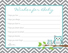 Turquoise Adorable Hoot Baby Wish Cards