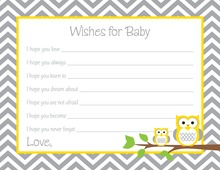 Deep Yellow Adorable Hoot Baby Wish Cards