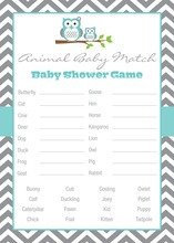 Turquoise Adorable Hoot Baby Animal Name Game