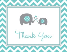 Teal Chevron Elephant Note Cards