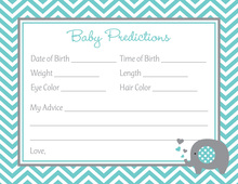 Turquoise Chevron Elephant Baby Prediction Cards