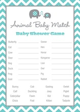 Turquoise Chevron Elephant Baby Animal Name Game