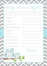 Powder Blue Adorable Hoot Baby Shower Price Game