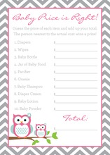 Deep Pink Adorable Hoot Baby Shower Price Game