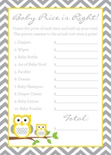Deep Yellow Adorable Hoot Baby Shower Price Game