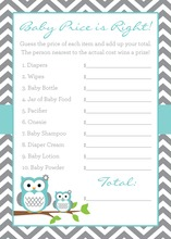 Turquoise Adorable Hoot Baby Shower Price Game