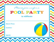 Pool Party Beach Ball Fill-In Invitations