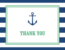 Navy Stripes Anchor Green Nautical Note