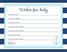 Navy Stripes Anchor Light Blue Baby Wish Cards