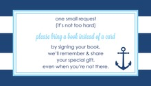 Navy Stripes Anchor Light Blue Bring A Book Card