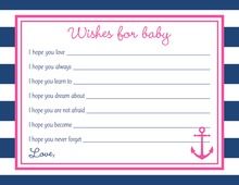 Navy Stripes Anchor Hot Pink Baby Wish Cards