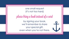 Navy Stripes Anchor Hot Pink Bring A Book Card