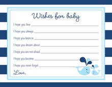Blue Whale Splash Baby Wish Cards