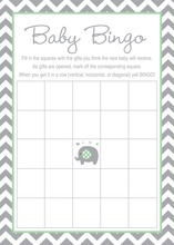 Mint Chevron Elephant Baby Shower Bingo Game