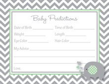 Chevron Mint Elephant Baby Prediction Cards