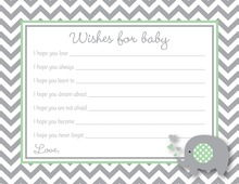 Chevron Mint Elephant Baby Wish Cards