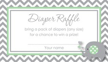 Chevron Mint Elephant Baby Raffle Cards