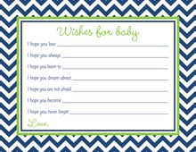 Navy Chevron Green Border Baby Wish Cards
