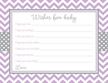 Purple Chevron Grey Border Baby Shower Wish Cards