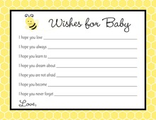 Adorable Bee Baby Shower Wish Cards