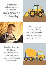 Kids Construction Squares Photo Card