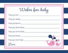Pink Whale Splash Baby Shower Wish Cards