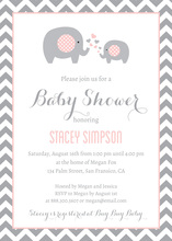 Pink Elephants Baby Shower Chevrons Invitation