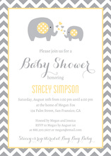 Yellow Elephants Baby Shower Chevrons Invitation