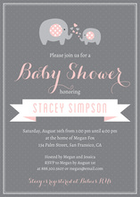 Pink Elephants Baby Shower Polka Dots Invitation